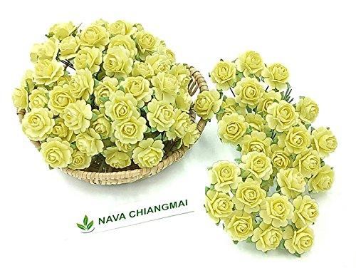 NAVA CHIANGMAI Beautiful Artificial Mulberry Paper Rose Flower (Heart Petals Rose) Wedding Card Embellishment, Scrapbooking Wedding Doll House Supplies Card,DIY Flower Accessories. (Yellow)