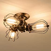 Vintage Ceiling Light Industrial Rotatable Semi-Flush Mount Ceiling Light Metal Lamp Fixtures Painted Finish; Moonkist (With 3 Light)