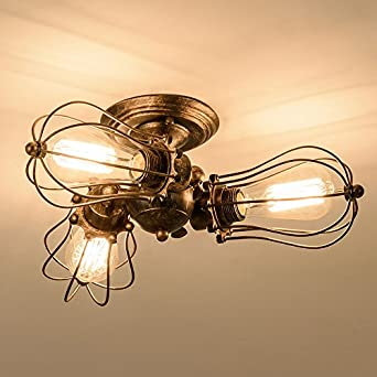 Vintage Ceiling Light Industrial Rotatable Semi Flush Mount Ceiling Light  Metal Lamp Fixtures Painted Finish; Moonkist (With 3 Light) (Bronze)