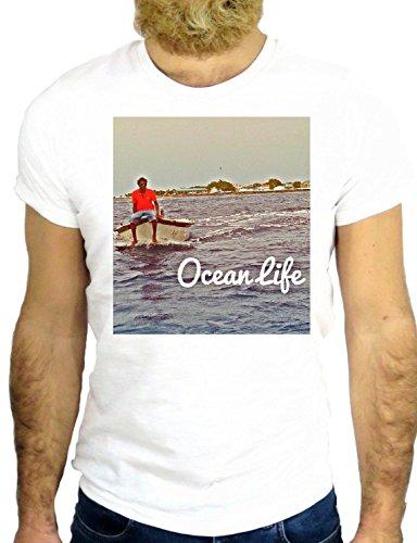 T SHIRT Z0989 OCEAN LIFE NICE HAWAII COOL POLINESIA POLINESYA SEA COOL SUMMER GGG24 BIANCA - WHITE M