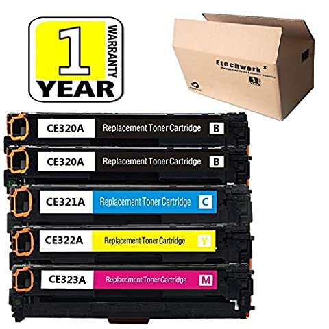 Etechwork 5 Pack Compatible with 128A, CE320A CE321A CE322A CE323A Toner Cartridges for Color LaserJet CP1525n, CP1525nw, CM1415fn, CM1415fnw Series Printers (2Black, 1Cyan, 1Yellow, (Hp Print Cartridge Ce320a)