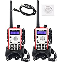 Retevis RT5 Dual Band 2 Way radio VHF/UHF 136-174/400-520MHz 5W 128 Channel Scan VOX FM 1750Hz Ham Amateur Radio(2 Pack) and Programming Cable