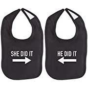 He Did It She Did It Arrow Twin Set Unisex Newborn Baby Soft 100% Cotton Bibs in Black & White