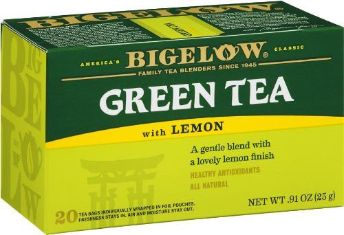 Bigelow Green Tea with Lemon Tea Bags, 20-Count Boxes (Pack of 6), Green Tea Bags with Lemon Peel and Natural Flavors, Rich in Antioxidants