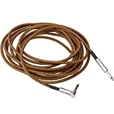 SCIROKKO Professional Guitar Cable 20FT/6m Music Instrument Cables Audio Cable (Right Angle 1/4 to Straight 1/4 inch TS) -Electric Guitar Wire Bass Guitar Cord Heavy Duty Speaker Cable
