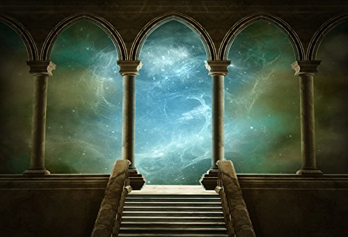 Baocicco 12x10ft Wedding 3D Render Backdrops Fantasy Starry Sky from Ancient Arches Background Mediaeval Gallery Temple Castle Marble Stone Column Staircase Photo Props (Sky Temple Best Heroes)