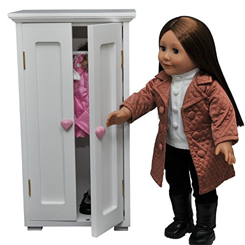 Wooden Doll Trunk - The Queen's Treasures White Wooden Storage Wardrobe Closet Trunk with 4 Hangers, Funiture Sized for 18 inch American Girl Dolls & Others!