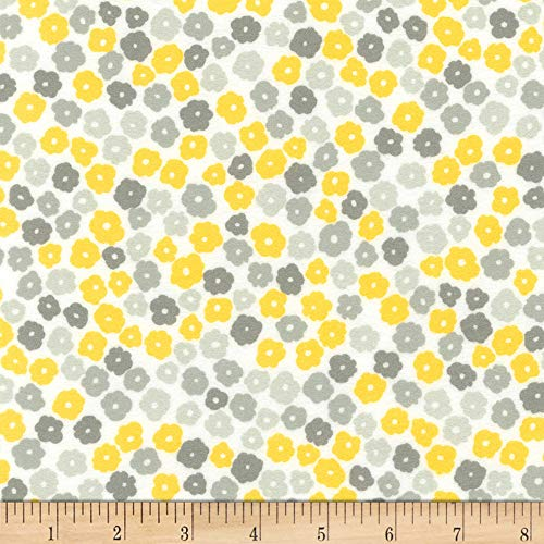 Robert Kaufman Cozy Cotton Flannel Flowers Yellow, Fabric by the Yard