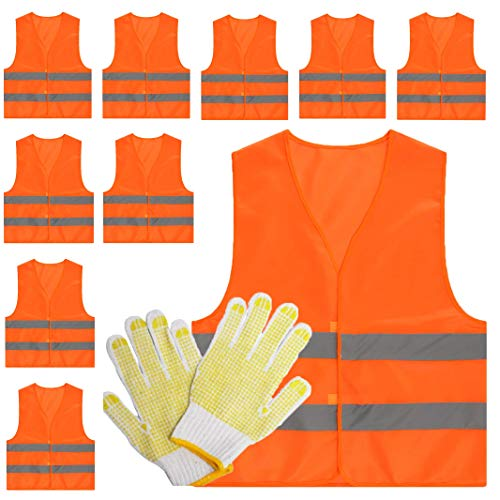 (Gacchi Reflective vest Safety vest security High Visibility Orange Bulk (10))