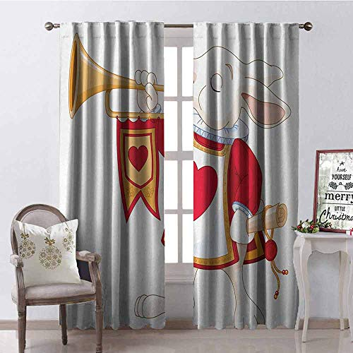 White Trumpet Glass Shade - GloriaJohnson Alice in Wonderland Shading Insulated Curtain Rabbit Playing Royal Trumpet with Heart Design Animal Card Kids Soundproof Shade W42 x L90 Inch White Red Yellow
