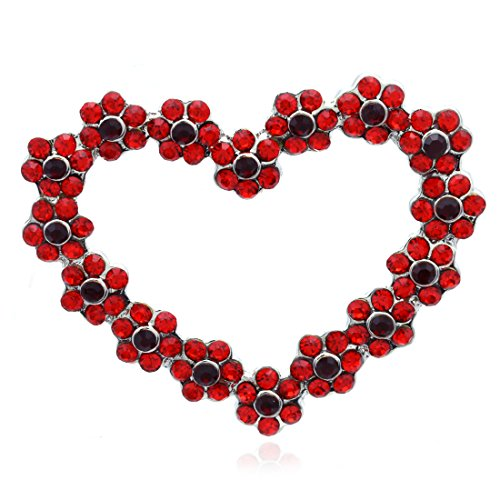Soulbreezecollection Valentine's Day Heart Pin Brooch Designer Fashion Jewelry Charm (Red)