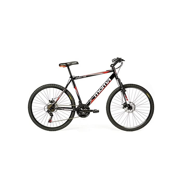 Moma Bikes Bicicleta Montaña  FOX 26″, Alu SHIMANO 21V, Doble Freno Disco, Susp. Delant