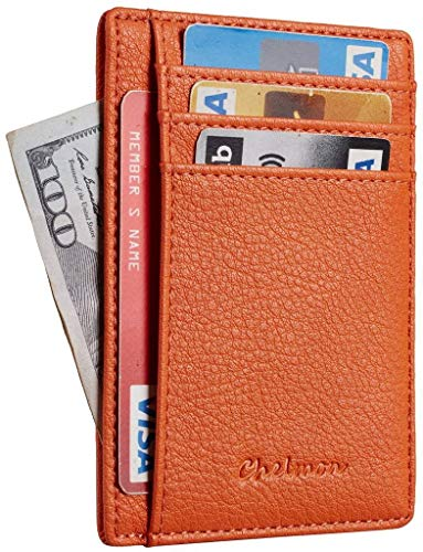 Chelmon Slim Wallet RFID Front Pocket Wallet Minimalist Secure Thin Credit Card Holder (Pebble Orange)