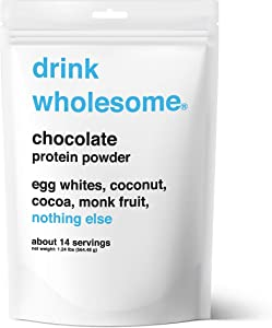 Drink Wholesome, Delicious Real Food Protein Powder, Only 4 Real Food Ingredients, Chocolate, 14 Servings