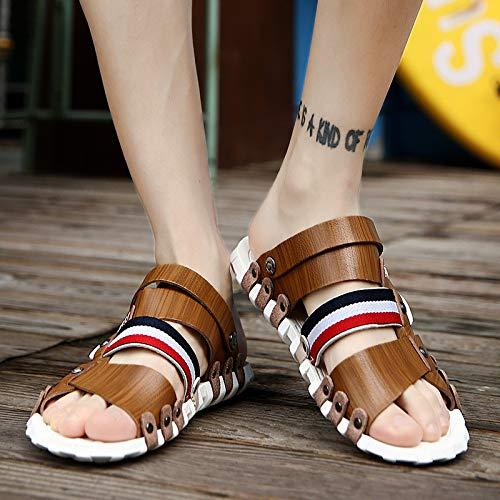 Brown Jia blue Uso Libre Hombres Al Playa De Para Verano Y Sandalias Diarias Tendencia 44 Hong Zapatillas Doble Zapatos Moda 42 Aire RUx4R