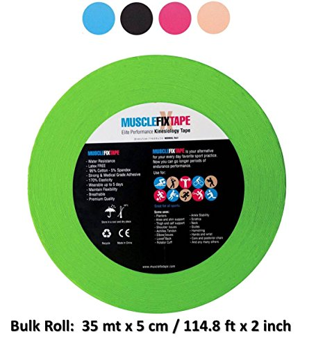 Service Rock - Muscle Fix Tape Kinesiology Bulk Clinical Recovery Injury Therapeutic Kinetic Tape Uncut Pro-FP Economical Jumbo Size Sports Big Roll for Shoulder Knee Arm Shin Splint Achilles Heel Calf, Green