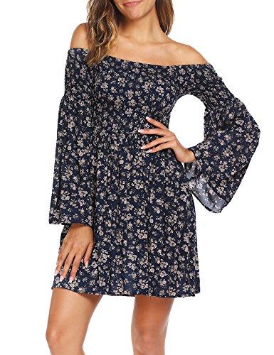 Beyove Women's Vintage Off Shoulder High Waist Floral Print Beach Mini Dress Summer 2018 Blue M