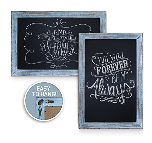 Rustic Blue Magnetic Wall Chalkboard, Extra Large Size 20'' x 30'', Framed Decorative Chalkboard - Great for Kitchen Decor, Weddings, Restaurant Menus and More! … (20''x30'') by HBCY Creations (Image #3)'