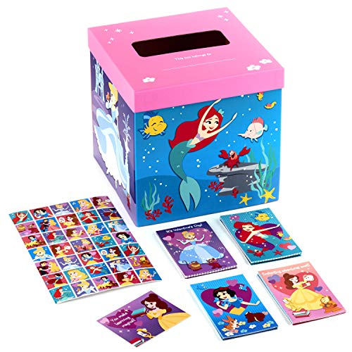 Hallmark Valentines Day Cards for Kids and Mailbox for Classroom Exchange, Disney Princess (1 Box, 32 Valentine Cards, 35 Stickers, 1 Teacher Card)