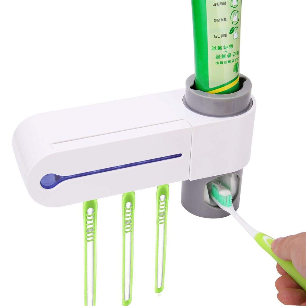 LiPing Sterilizer Toothbrush Holder Cleaner & Automatic Toothpaste Dispenser Bathroom Wall for Practical Type Non-Trace Stick Wall Bathroom Accessories (8.66''x5.19''x2.24'')