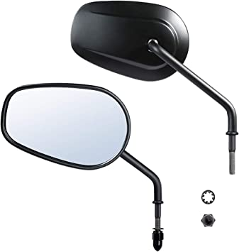 XMT-MOTO Chrome Rear View Mirrors Mirror fits for Harley Davidson FLSTC FXDB Dyna FXDF FLSTF