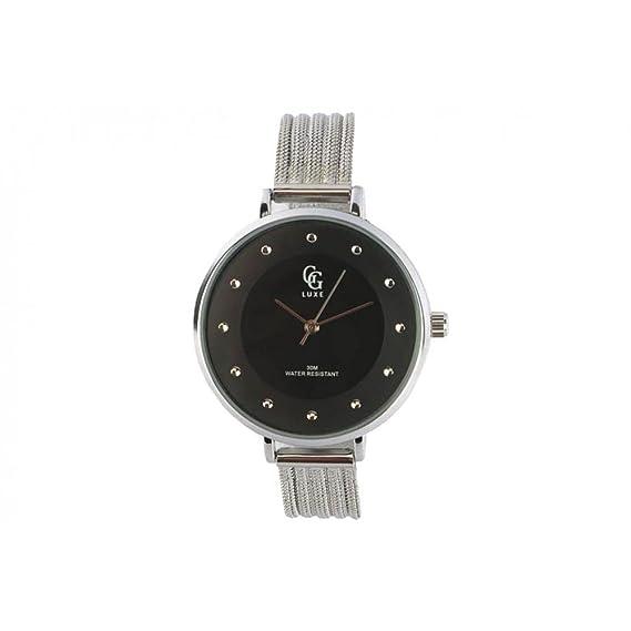 Reloj mujer negra pulsera plata Mary – Mujer