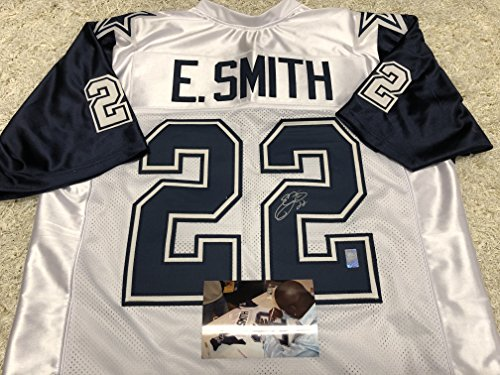 Emmitt Smith Autographed Signed Dallas Cowboys Custom White Jersey Thanksgiving Day Style GTSM Emmitt Personal COA & Hologram W/Photo From Signing