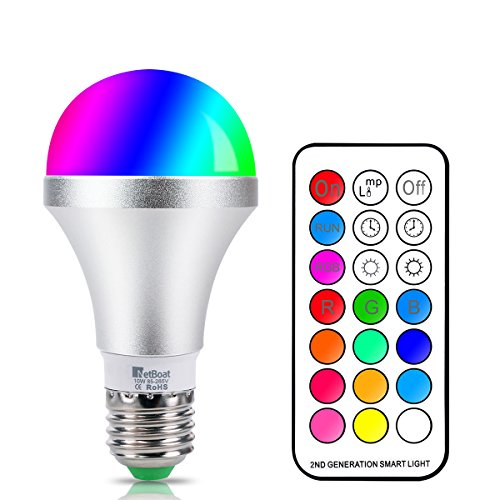 Memory Control (NetBoat LED Color Changing Light Bulb with Remote Control,10W E26/E27 RGB+Daylight White LED Bulbs Dimmable,Memory Function and Wall Switch Control,Ideal Lighting for Home Decoration,Stage,Bar,Party)