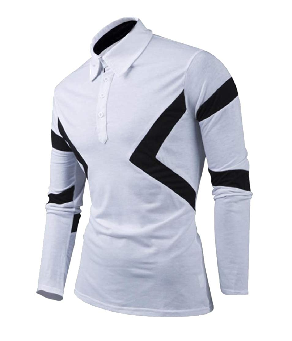 YUNY Men Polo Button-up Long Sleeve Hit Color Casual T-Shirt Top White M