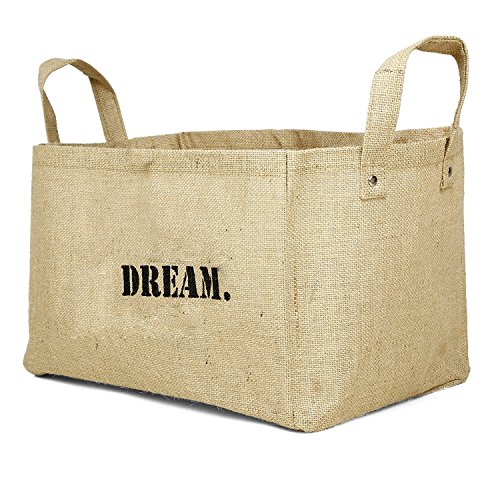 Toy Basket Jute Storage Bin For Kids comes in FAITH LOVE JOY DREAM LIVE SHARE PEACE FOREVER (Wicker Hearts Cheap)