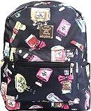 N Polar Lightweight Floral Printing PU Leather School Travel Fashion Daypack Backpack. Waterproof, Large Capacity Knapsack Rucksack Shoulder Bag For Ladies Girls Women Teens Kids- Perfume Black