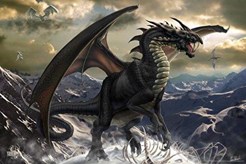 Dragon Art Poster - Rogue Dragon Skeleton Tom Wood Fantasy Art Poster 36x24 inch