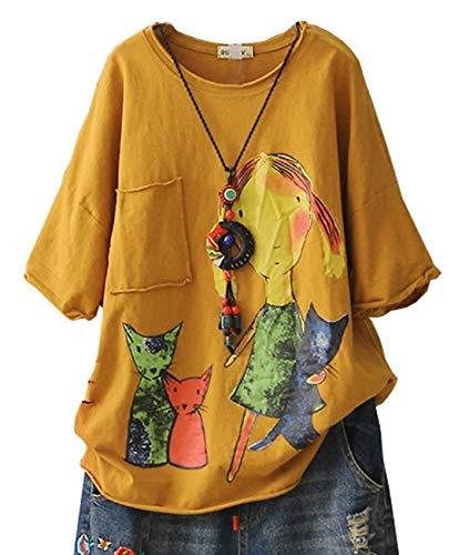 - YESNO E78 Women Casual Loose Tee T-Shirts Tops Cartoon Printed Rolled Hem Ripped Short Sleeve Pocket (M, Yellow)