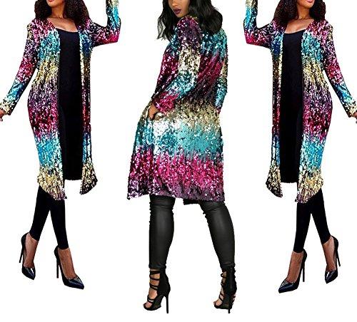 - PROMLINK Women Sequin Loose Open Front Party Dress Long Sleeve Cardigan Coat