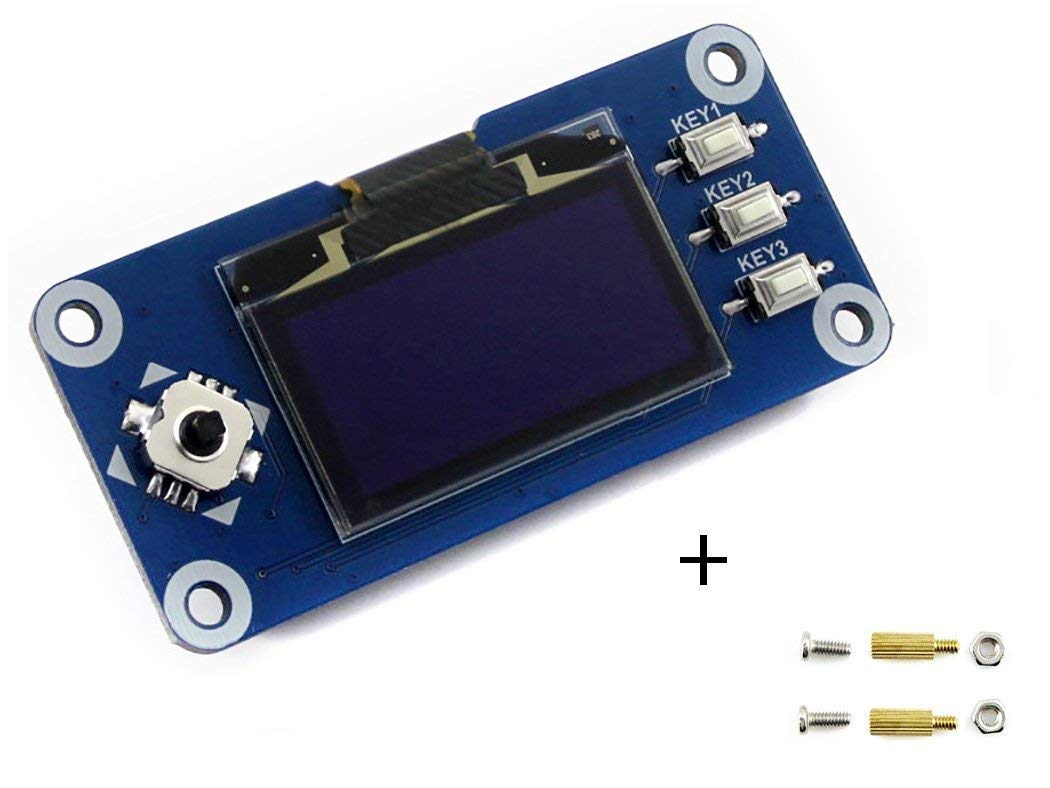 1.3inch OLED Display HAT 128x64 Pixels 4-wire SPI 3-wire SPI I2C interface Embedded Controller Direct-pluggable for Raspberry Pi 2B//3B//Zero//Zero W with Examples