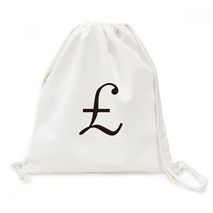 Amazon Currency Symbol Pound Canvas Drawstring Backpack Travel