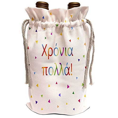 3dRose InspirationzStore Many Different Languages - Chronia polla Happy Birthday and long life wish in Greek colorful text - Wine Bag (wbg_202029_1)