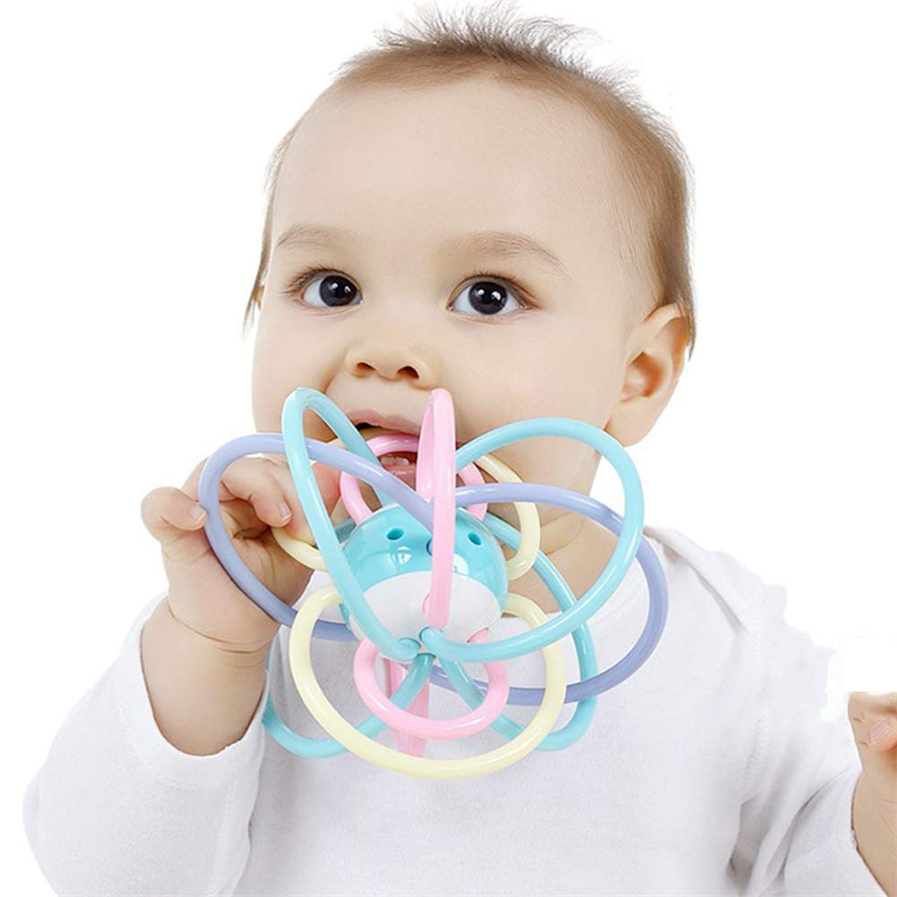 fang zhou Quality Baby Teether Rainbow Ball with 12 Ring Handle, Rubber Educational Toy, Safe, Environmentally Friendly, Healthy, Bpa-Free, Best Gift for Children by fang zhou