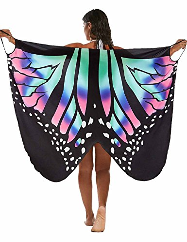 Vivilover Womens Spaghetti Strap Butterfly Print Cover Up Backless Bikini Wrap Beach...