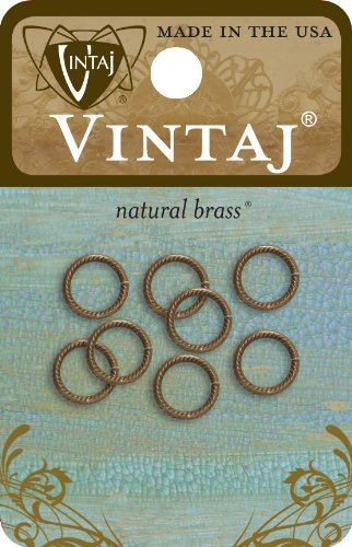 Vintaj 8-Piece Rib Cable Jump Ring, 9mm