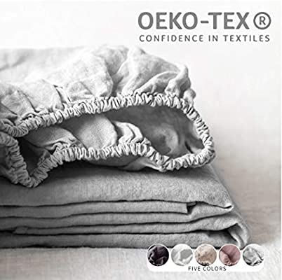 Simple/&Opulence 100/% Linen Fitted Sheet with 14 Inch Deep Pocket Stone Washed