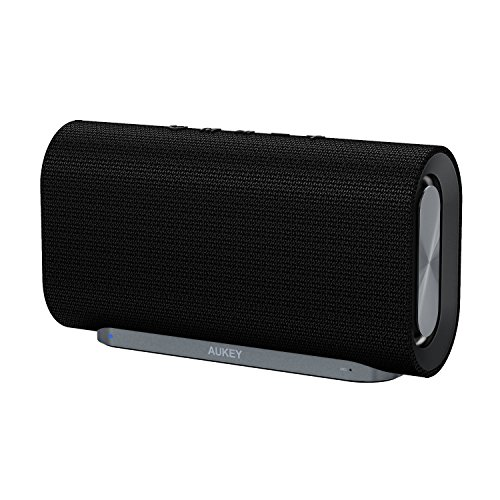 AUKEY Eclipse Bluetooth Speaker 20W with 12 Hours Playtime, Enhanced Bass with Dual Subwoofers and Woven Fabric Surface for Echo Dot, iPhone, iPad, Samsung, Android Phones and More