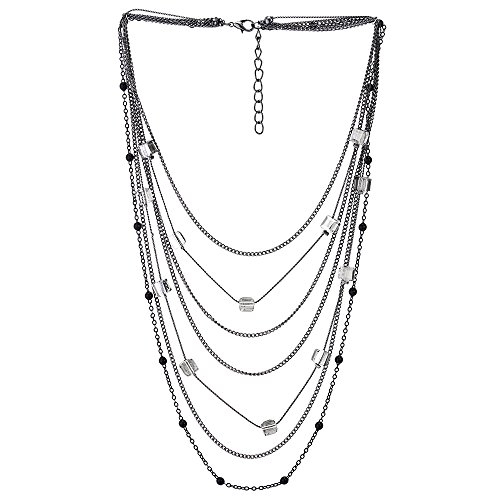 (iMECTALII Black Silver Waterfall Multi-Strand Long Chain Statement Necklace with Crystal Bead Charms Pendant)