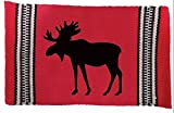 """Unique & Custom {12'' x 18'' Inch} Set Pack of 4 Rectangle """"Non-Slip Grip Texture"""" Large Table Placemats Made of Washable 100% Cotton w/ Moose Silhouette Forest Animal Design [Colorful Red & Black]"""