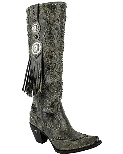 Lane Womens Conchita Western Laars Knip Toe Teen - Lb0311b Zwart