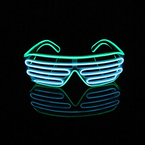 Aquat Light Up Neon Shutter Glasses LED Electroluminescent EL Wire Costumes Eyeglasses For Party RB03 (Green +