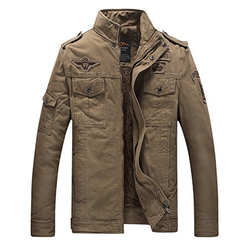 H.T.Niao Jacket8333C3 Men 's Military Fashion Plus Velvet Cold Jackets(Khaki,Size (Noritake Applique)