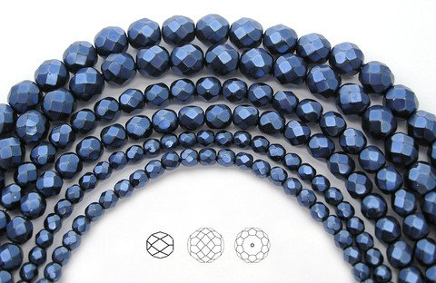Carmen Metallic Pearl, Pearlized Czech Fire Polished Round Faceted Glass Beads ()