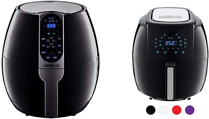GoWISE USA 3.7-Quart Programmable Air Fryer with 8 Cook Presets, GW22638 - Black & USA 1700-Watt 5.8-QT 8-in-1 Digital Air Fryer with Recipe Book, Black