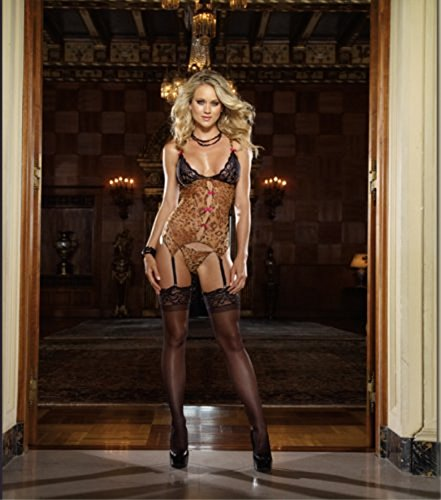 (Dreamgirl Leopard and Lace Garter Chemise Set Leopard Print)
